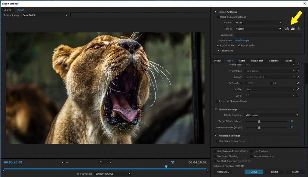 Premiere Pro Save Export Settings